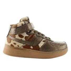 Brązowe Dziecięce buty sportowe ocieplane k1646103 Bronce