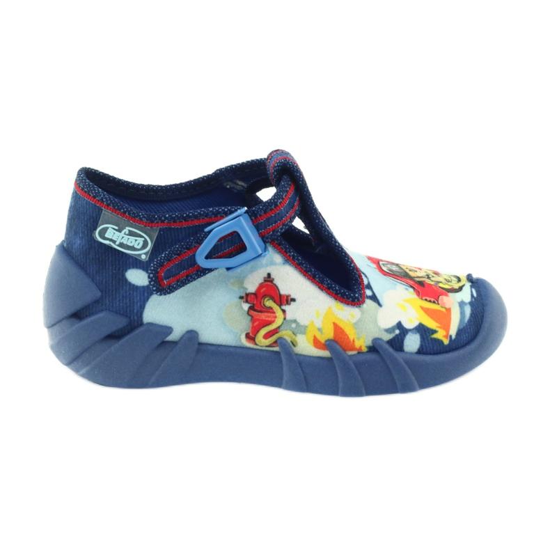 Befado buty dziecięce kapcie 110p323 niebieskie wielokolorowe