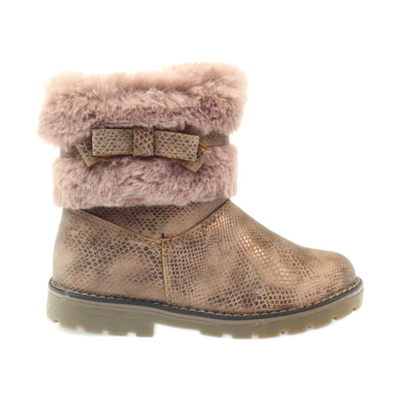 American Club American kozaki buty zimowe z futrem17042 brązowe żółte różowe