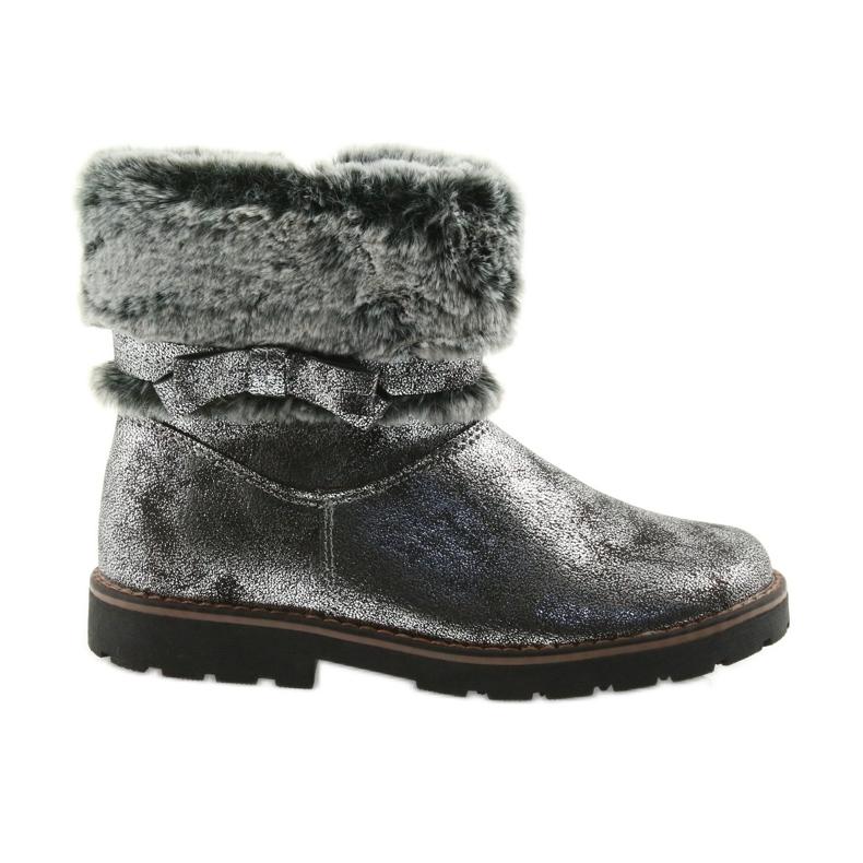 American Club American kozaki buty zimowe z futerem 17042 czarne szare