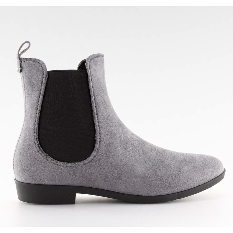 Kalosze damskie sztyblety szare D61 Grey