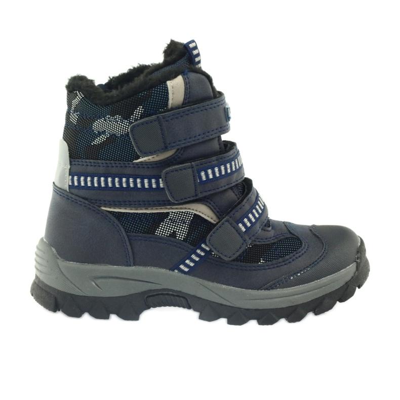 American Club American kozaki trzewiki buty zimowe 87433 granatowe białe czarne