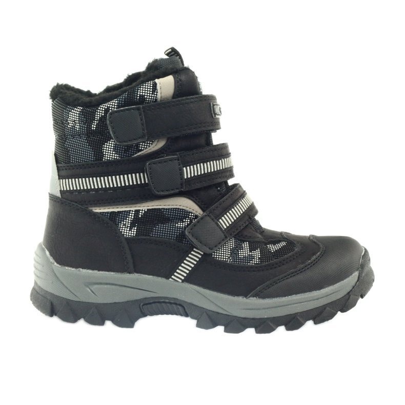 American Club American kozaki trzewiki buty zimowe 87433 czarne białe szare