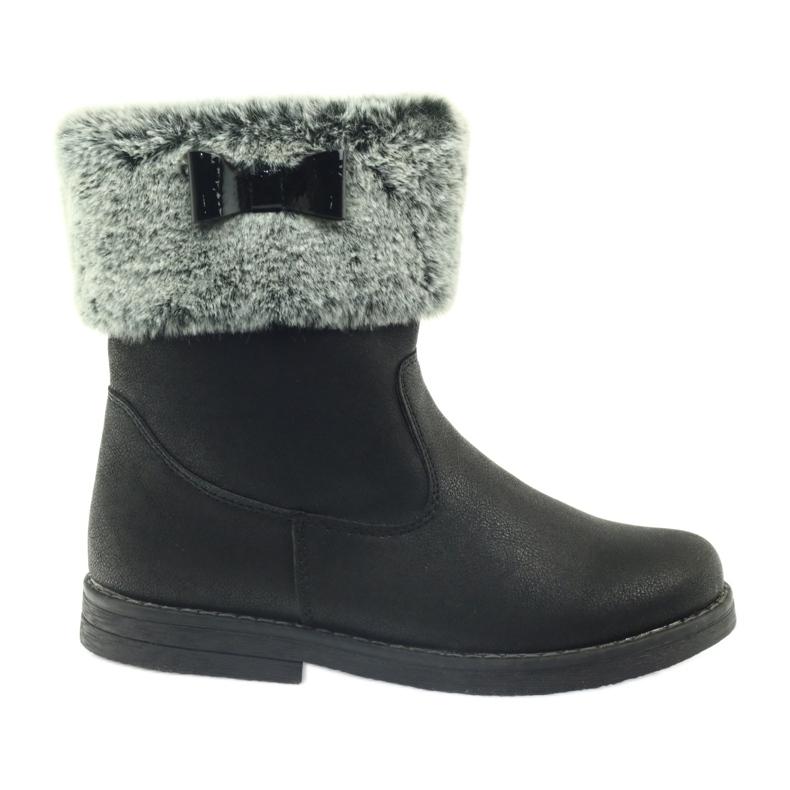 American Club American kozaczki buty zimowe z futerkiem czarne