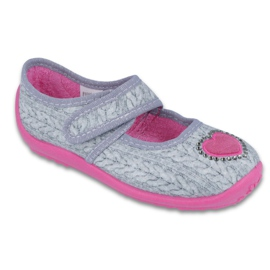 Befado obuwie dziecięce 945Y326 szare różowe