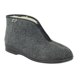 Szare Befado buty męskie ciepłe kapcie 100M047