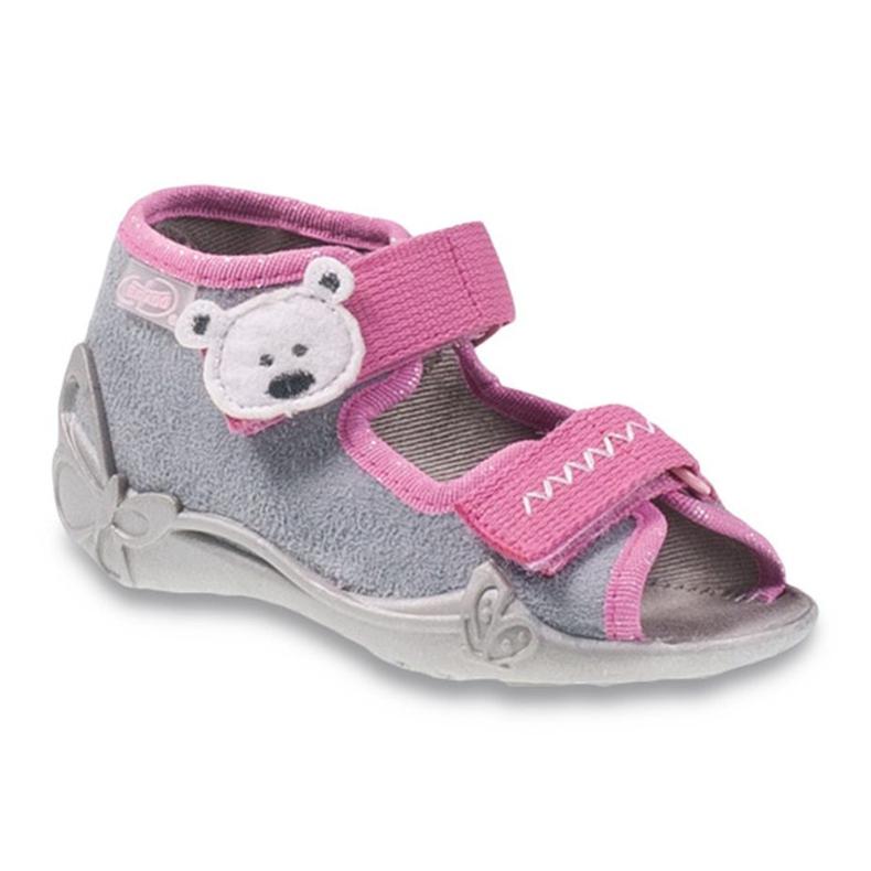 Befado szare obuwie dziecięce 242P073 różowe