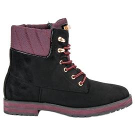 Ideal Shoes Czarne traperki