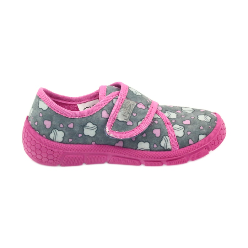 Befado buty dziecięce kapcie 557X041 szare różowe