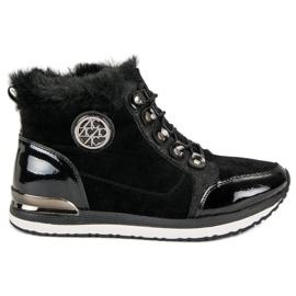 Aclys czarne Modne Wiązane Sneakersy