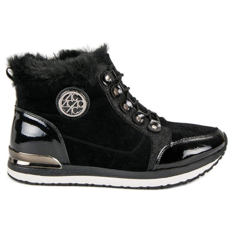Aclys Modne Wiązane Sneakersy czarne
