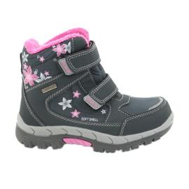American Club American kozaki buty zimowe z membraną 3121 szare różowe