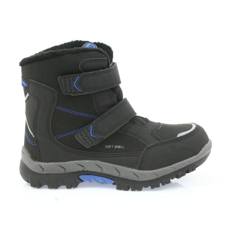 American Club American kozaki buty zimowe z membraną 3123 czarne niebieskie