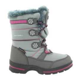 American Club American buty zimowe z membraną 702SB szare różowe