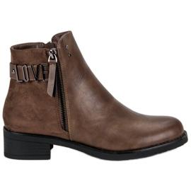 Ideal Shoes czarne Brązowe Botki Na Płaskim Obcasie