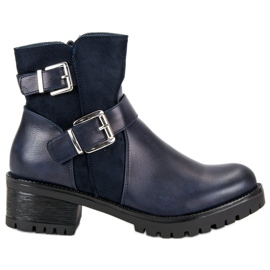 Ideal Shoes niebieskie Granatowe Botki Na Platformie