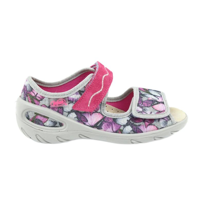 Befado obuwie dziecięce sandałki wkładka skórzana 433X029 fioletowe szare różowe