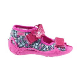 Befado buty dziecięce kapcie sandałki 242p072 szare wielokolorowe różowe