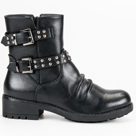 J. Star Modne Rockowe Botki czarne