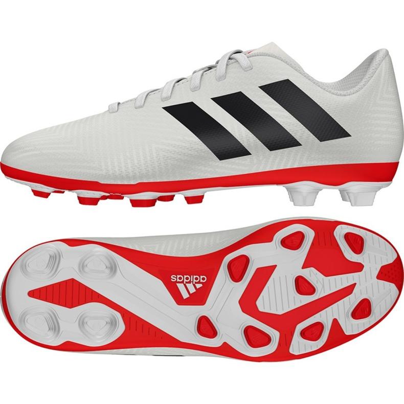 Buty piłkarskie adidas Nemeziz 18.4 FxG Jr CM8510 białe wielokolorowe