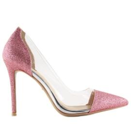 Szpilki brokatowe różowe 5133 Pink