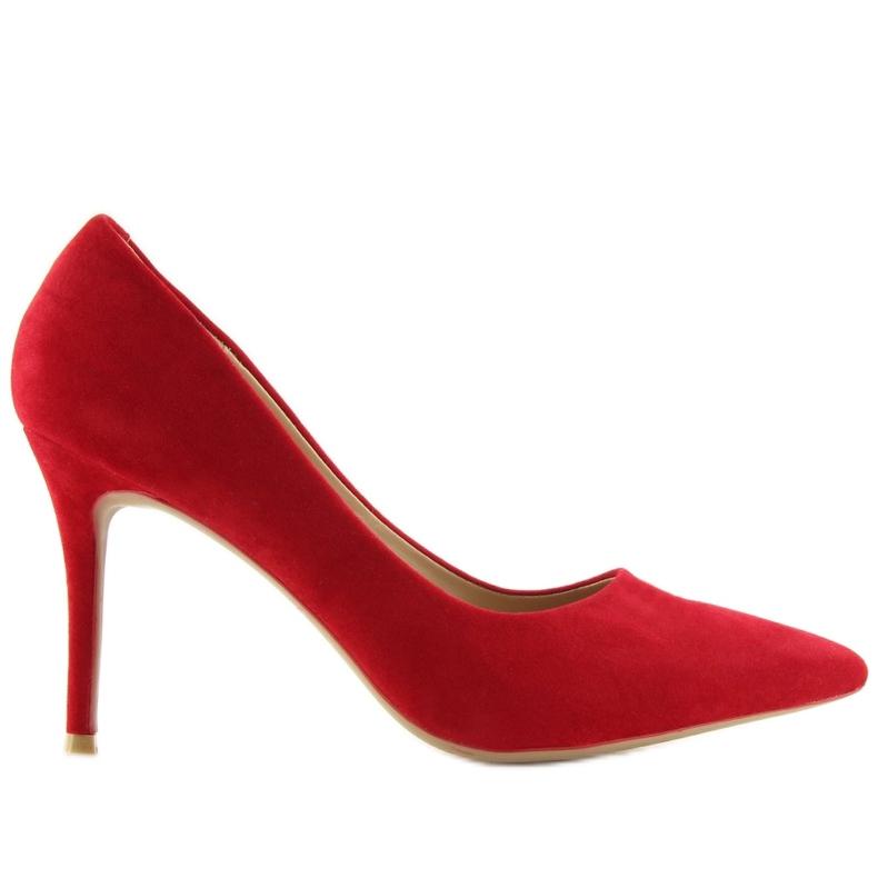 Czółenka na szpilce czerwone 66-26 Red