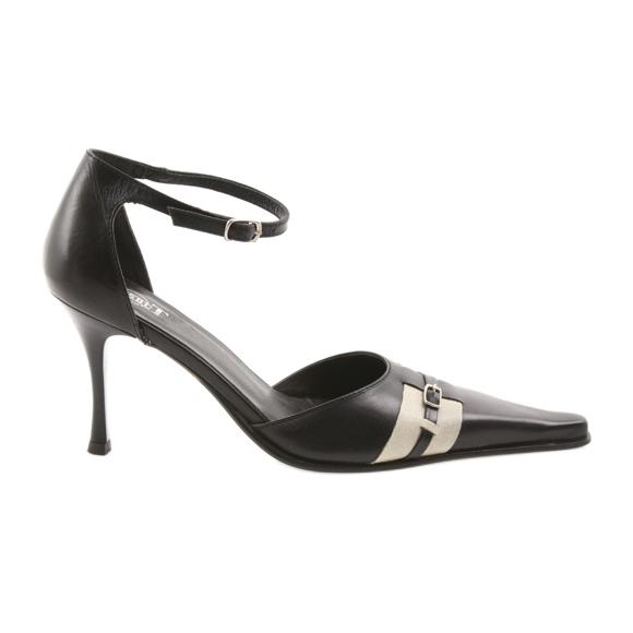 Sandały czarne skórzane damskie Eksbut 076