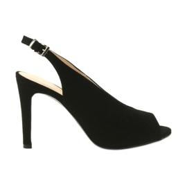 Edeo czarne Sandały zamszowe na szpilce