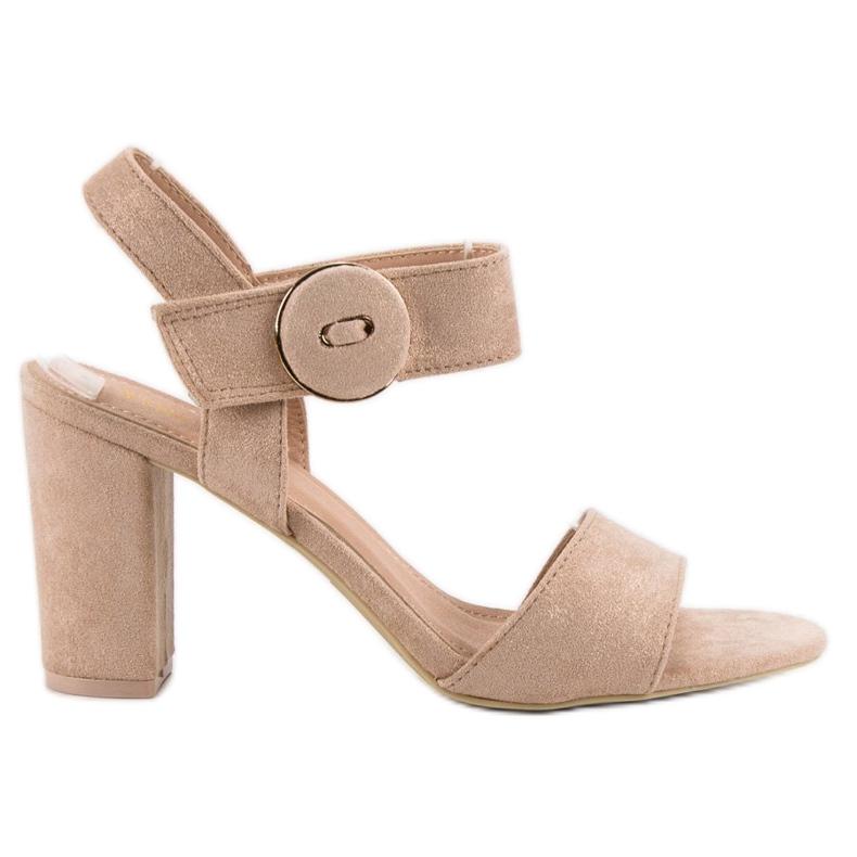 Beżowe Sandały Na Słupku VINCEZA brązowe
