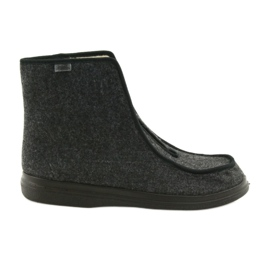Befado buty męskie pu ciepłe kapcie 996M004 szare
