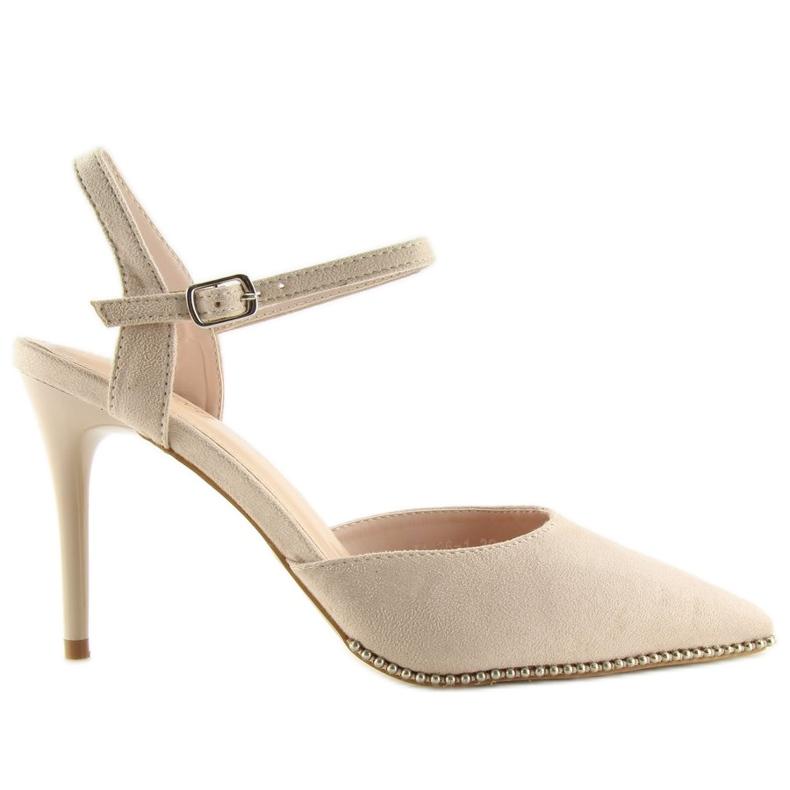 Sandałki na szpilce beżowe J1126-1 Beige beżowy