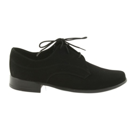 Czarne Miko półbuty dziecięce zamszowe buty komunijne