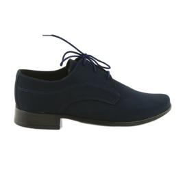 Granatowe Miko półbuty dziecięce zamszowe buty komunijne