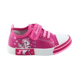 American Club American trampki buty dziecięce na rzepy wkładka skórzana różowe