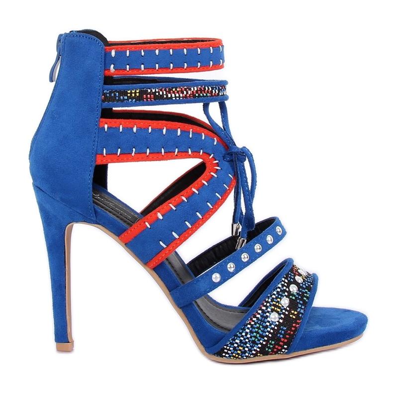 Sandałki gladiatorki niebieskie MT029 Blue