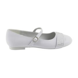Czółenka buty dziecięce balerinki komunijne cyrkonie American Club 11/19 białe