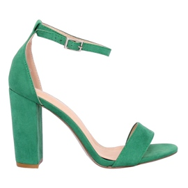 Sandałki na słupku zielone Y2385-27 Green