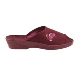 Befado kapcie buty damskie pu 581D193 klapki czerwone