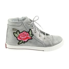 Szare Trzewiki buty dziewczęce srebrne Ren But 4279
