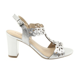 Szare Caprice Sandały ażurowe 28315 srebrne