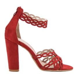 Laura Mode Czerwone Sandały Na Słupku