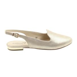 Żółte Caprice lordsy złote buty damskie 29400