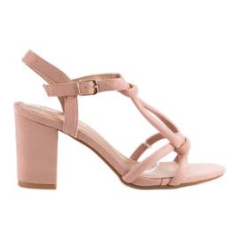 Laura Mode różowe Eleganckie Sandały Na Słupku