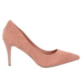 Szpilki zamszowe różowe 100-828ES-1 Pink