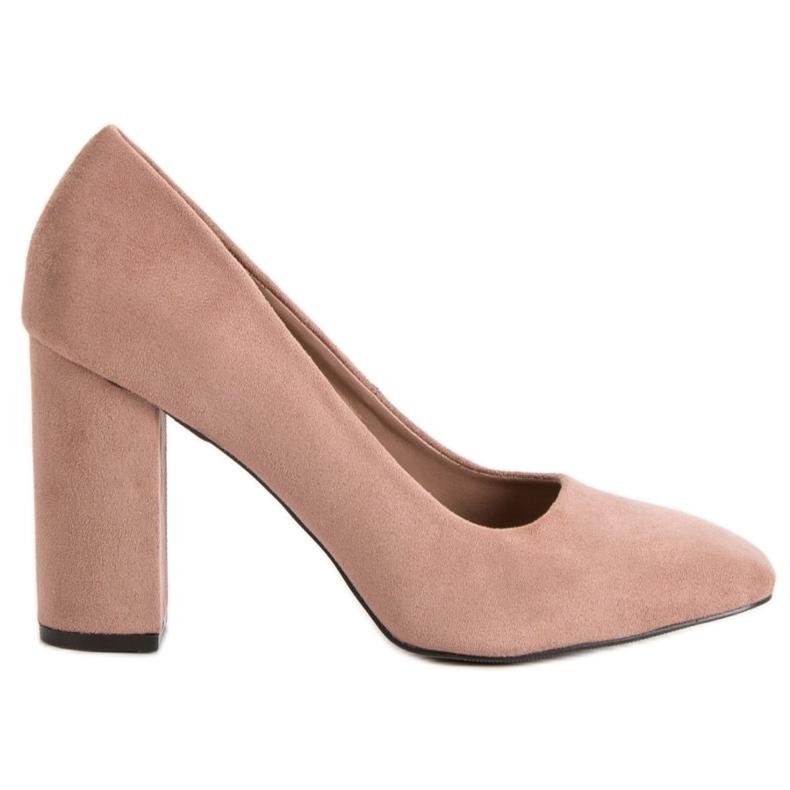 Sweet Shoes Zamszowe Czółenka Na Słupku różowe