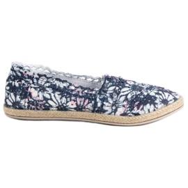 Sweet Shoes niebieskie Koronkowe Slipony