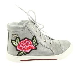 Szare Trzewiki buty dziewczęce srebrne Ren But 3237