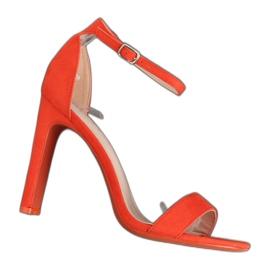 Sandałki na obcasie pomarańczowe NF-37P Orange