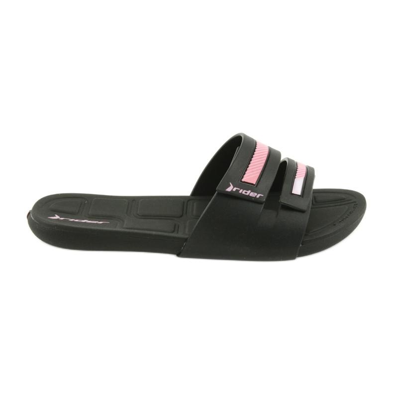 Klapki rekreacyjne buty damskie basenowe Rider 82503 czarne różowe