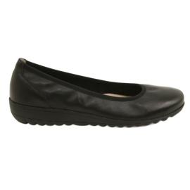 Czarne Balerinki skórzane komfortowe Caprice 22150